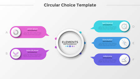 Five rounded elements with linear symbols and pointers pointing at main paper white circle in center. Concept of 5 characteristics or options. Clean infographic design template. Vector illustration.