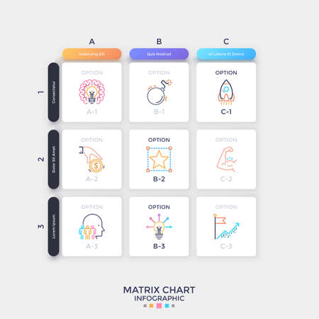 Matrix chart with rows, columns and square paper white cells with thin line pictograms inside. Concept of spreadsheet or table. Simple infographic design layout. Vector illustration for presentation.