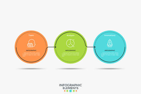 Three colorful circular elements placed in horizontal row and connected by arrows. Vector illustration in simple flat style for business analytics visualization, presentation, brochure, report. Ilustracja