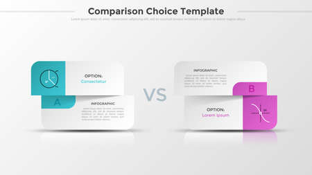 Two split paper white cards with linear symbols and place for text or description. Concept of comparison or choice between 2 options. Realistic infographic design layout. Vector illustration.