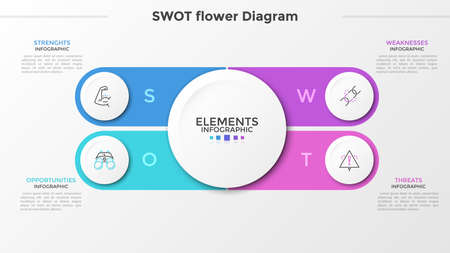 Four paper white round elements with thin line icons inside and text boxes. SWOT flower petal diagram. Advantages and disadvantages of company. Infographic design template. Vector illustration. Illusztráció