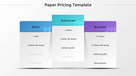Three separate paper white rectangular elements of lists with description of features or included options. Concept of 3 pricing plans. Modern infographic design template. Vector illustration. Ilustracja