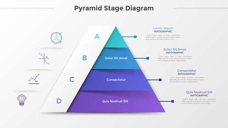 Triangular chart or pyramid diagram divided into 4 parts or levels, linear icons and place for text. Concept of four stages of project development. Infographic design template. Vector illustration. 일러스트
