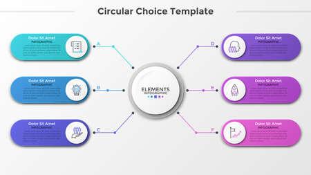 Círculo de papel blanco conectado a 6 elementos redondeados de colores con iconos lineales y lugar para el texto en el interior. Concepto de seis características del proyecto empresarial. Plantilla de diseño infográfico. Ilustración vectorial. Ilustración de vector