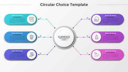 Cerchio bianco di carta collegato a 6 elementi arrotondati colorati con icone lineari e posto per il testo all'interno. Concetto di sei caratteristiche del progetto imprenditoriale. Modello di progettazione infografica. Illustrazione vettoriale. Vettoriali