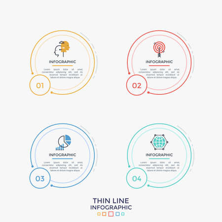 Four separate round elements with thin line pictograms, numbers and place for text or description inside. Linear infographic design template. Vector illustration for website, web interface or menu.
