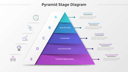 Triangular chart or pyramid diagram divided into 5 parts or levels, linear icons and place for text. Concept of five stages of project development. Infographic design template. Vector illustration. Иллюстрация