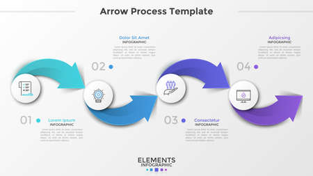 Four paper white circular elements with linear pictograms inside, numbers and text boxes connected by colorful arrows. Concept of 4-stepped process. Infographic design template. Vector illustration.