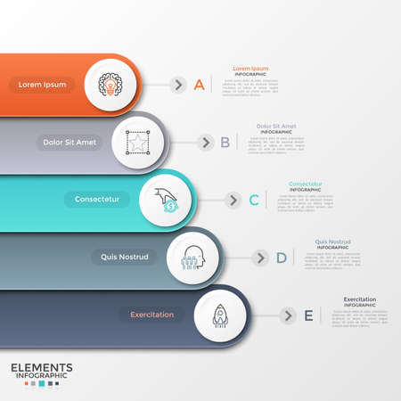 Five colorful rounded ribbons with circular paper white elements and linear symbols placed one below other. Concept of 5 levels of business progress. Infographic design template. Vector illustration.
