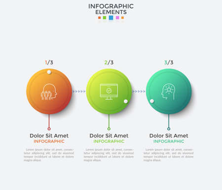 Modern flowchart with 3 gradient colored circular elements connected by arrows. Vector illustration in clean style for business presentation, startup development process stages visualization. Ilustracja