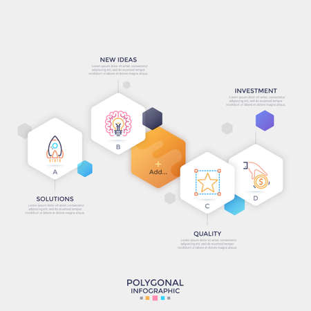 Five separate paper white hexagonal elements with thin line symbols and letters inside and place for text. Infographic design layout. Vector illustration for website menu, multimedia presentation.
