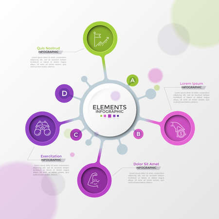 Four bright colored bubbles with thin line icons inside connected to main white round element. Concept of 4 features of startup project. Modern infographic design template. Vector illustration. Ilustracja