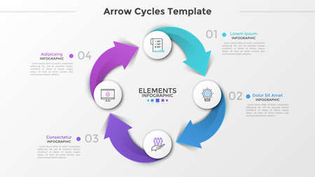 Ring-like diagram with 4 paper white round elements, linear symbols, numbers and text boxes connected by arrows. Four-stepped cyclical business process. Infographic design layout. Vector illustration. Ilustracja