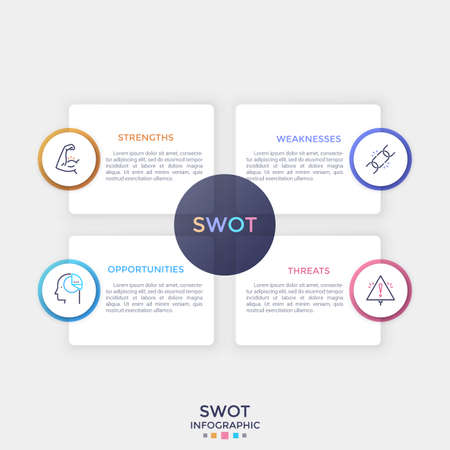 Four separate rectangular paper white elements with place for text inside and thin line symbols. Concept of SWOT analysis. Clean infographic design template. Vector illustration for presentation.
