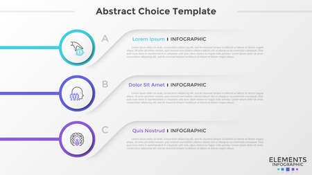 Three circular paper white elements with thin line icons inside placed one below other and place for text. List with 3 options to choose. Abstract infographic design template. Vector illustration.