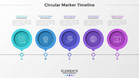 Horizontal timeline with 5 round pointer or marker elements, thin line symbols, letters and place for text. Simple infographic design template. Vector illustration for presentation, brochure. Zdjęcie Seryjne - 128181129