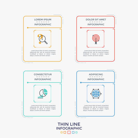 Four colorful separate rectangular elements or cards with linear pictograms and place for heading and text inside. Simple infographic design template. Vector illustration for website interface. Ilustracja