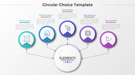 Main paper white circle connected to 5 round elements with linear symbols inside and text boxes by lines. Five circular options to choose. Modern infographic design template. Vector illustration.