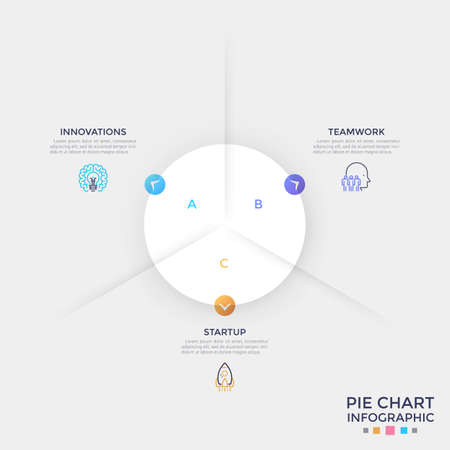 Round paper white pie chart divided into 3 equal sectors with colorful arrows pointing at thin line symbols and text boxes. Clean infographic design template. Vector illustration for presentation. Ilustracja