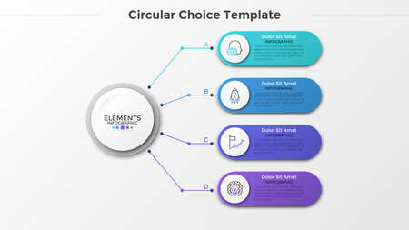 Paper white circle connected to 4 colorful rounded elements with linear icons and place for text inside. Concept of four features of business project. Infographic design template. Vector illustration.