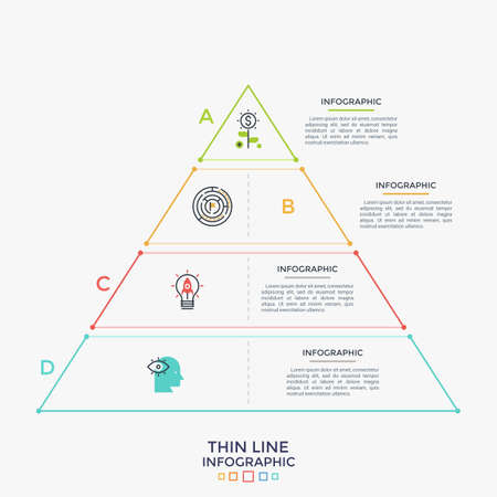 Triangle divided into 4 parts with thin line icons inside. Hierarchical chart with four levels. Hierarchy visualization. Creative infographic design template. Vector illustration for brochure.