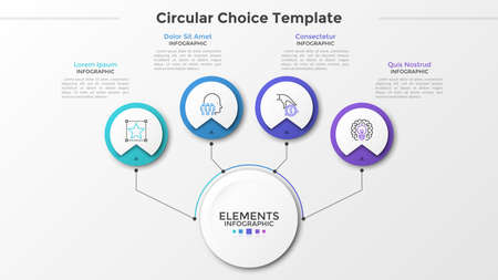 Main paper white circle connected to 4 round elements with linear symbols inside and text boxes by lines. Four circular options to choose. Modern infographic design template. Vector illustration.