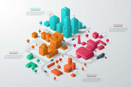 Modern isometric or 3d location map with colorful living and industrial buildings, city landmarks, streets and place for text or description. Clean infographic design template. Vector illustration