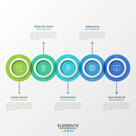Five round translucent elements with linear icons inside placed into horizontal row and intersected. Concept of 5-stepped process. Creative infographic design template. Vector illustration for report. Zdjęcie Seryjne - 128181194
