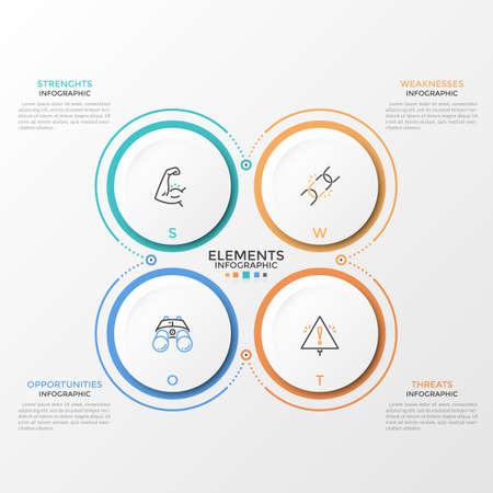 Vier papierweiße kreisförmige Elemente mit linearen Piktogrammen im Inneren und Platz für Text oder Beschreibung. Konzept der SWOT-Analyse für Startup-Unternehmen. Infografik-Design-Vorlage. Vektor-Illustration.