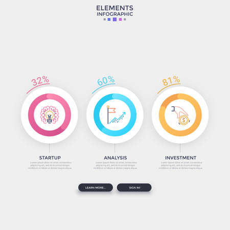 Three separate round elements with linear pictograms inside and percentage indication placed into horizontal row. Concept of 3 indicators to compare. Infographic design template. Vector illustration. Zdjęcie Seryjne - 128181245
