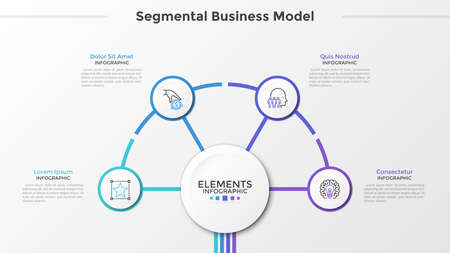 Four paper white round elements with thin line symbols inside surround main circle in center. Concept of segmental business model with 4 steps. Modern infographic design template. Vector illustration.