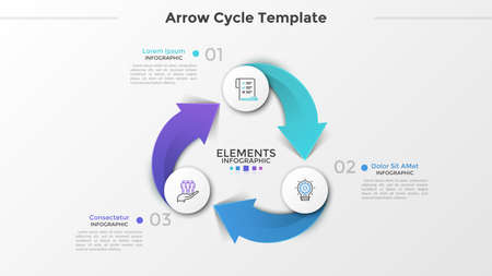 Ring-like diagram with 3 paper white round elements, linear symbols, numbers and text boxes connected by arrows. Three-stepped cyclical business process. Infographic design layout. Vector illustration