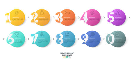 Ten colorful round elements with digits or figures connected by arrows. Creative infographic design template. Modern vector illustration for business options visualization, website interface.
