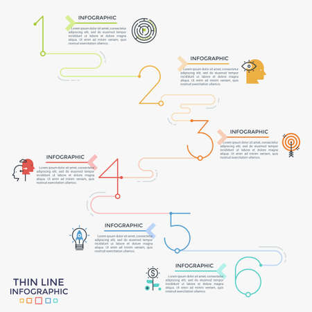 Six colorful numbers or figures connected into linear chart with thin line icons and place for text. Concept of 6 steps of progressive development. Infographic design template. Vector illustration