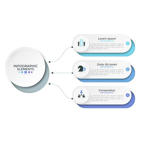 Three paper white rounded options or characteristics connected to main circular element by lines. Clean infographic design template. Vector illustration for schematic visualization of 3 project steps. Zdjęcie Seryjne - 128181255