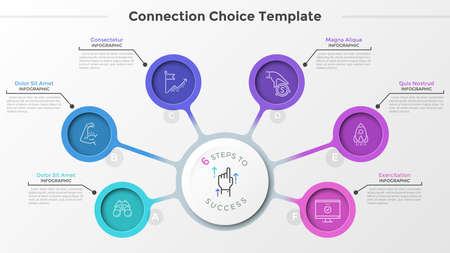 Six colorful round elements with linear symbols inside connected to main paper white circle. Mind map with 6 options for project strategy visualization. Infographic design layout. Vector illustration. Zdjęcie Seryjne - 128181257