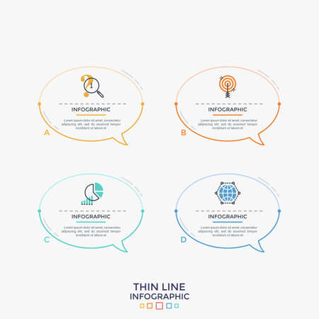 Four colorful separate speech bubbles or balloons with thin line icons and place for text inside. Concept of 4 messages. Linear infographic design template. Modern vector illustration for website.