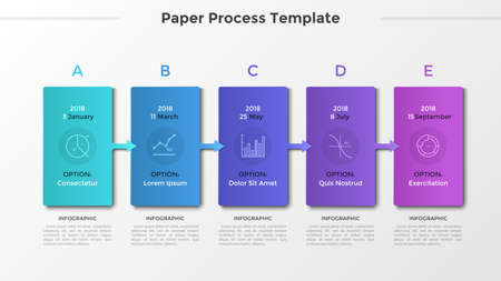 Horizontal timeline with 5 cards connected by arrows, thin line symbols and place for text or description. Process of development visualization. Modern infographic design layout. Vector illustration. Zdjęcie Seryjne