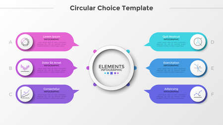 Six rounded elements with linear symbols and pointers pointing at main paper white circle in center. Concept of 6 characteristics or options. Clean infographic design template. Vector illustration. Zdjęcie Seryjne
