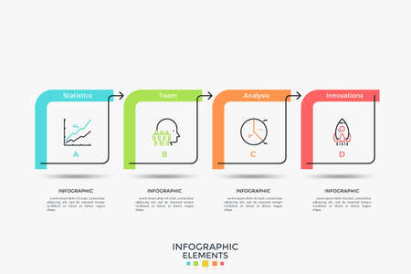 Horizontal timeline with 4 square elements connected by colorful arrows. Flat infographic design template. Vector illustration for flowchart, progress bar, business strategic development planning.
