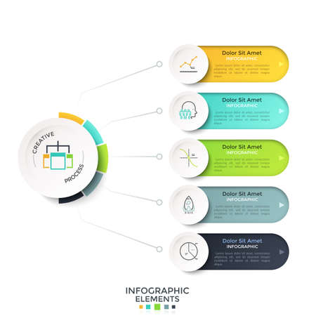 Five rounded options connected to main paper white circle by lines. Modern realistic infographic design template. Vector illustration for schematic visualization of startup project development steps.