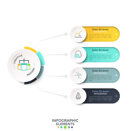 Four colorful rounded options or characteristics connected to main circular element by lines. Creative infographic design template. Vector illustration for project scheme, business presentation.