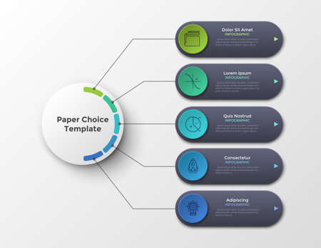 Scheme or flowchart with five elementsor options connected to main circle by lines. Clean infographic design template. Vector illustration for 5-stepped business plan or project visualization.