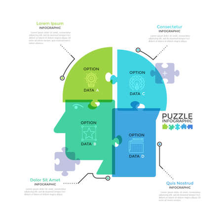 Human head or profile divided into 4 colorful translucent jigsaw puzzle pieces. Concept of four features of business thinking. Modern infographic design template. Creative vector illustration.