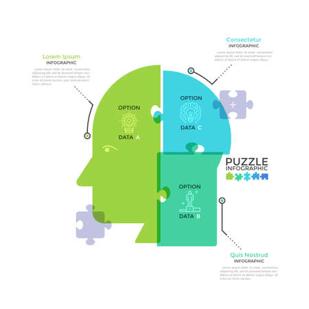 Human head or profile divided into 3 colorful translucent jigsaw puzzle pieces. Concept of three features of business thinking. Modern infographic design template. Creative vector illustration.