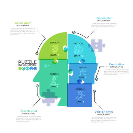 Human head or profile divided into 5 colorful translucent jigsaw puzzle pieces. Concept of five features of business thinking. Modern infographic design template. Creative vector illustration. Ilustracja