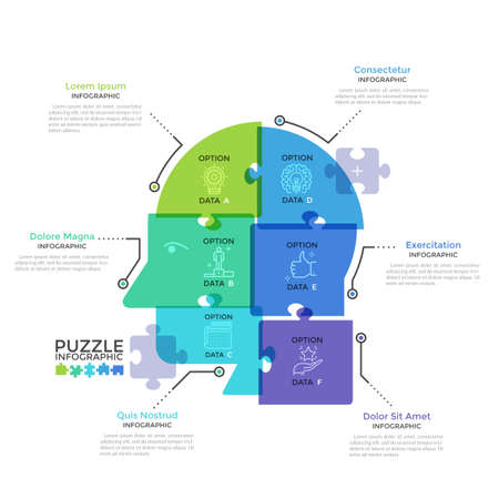 Human head or profile divided into 6 colorful translucent jigsaw puzzle pieces. Concept of six features of business thinking. Modern infographic design template. Creative vector illustration.