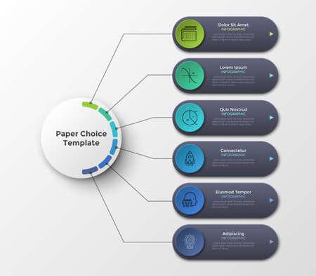 Esquema o diagrama de flujo con seis elementos u opciones conectadas al círculo principal por líneas. Plantilla de diseño de infografía limpia. Ilustración vectorial para visualización de proyectos o planes de negocios de 6 pasos. Ilustración de vector
