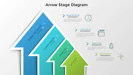 Ascending bar chart with 4 colorful arrow-like elements. Stage diagram. Modern infographic design template. Vector illustration for business growth and progressive development process visualization. Ilustracja
