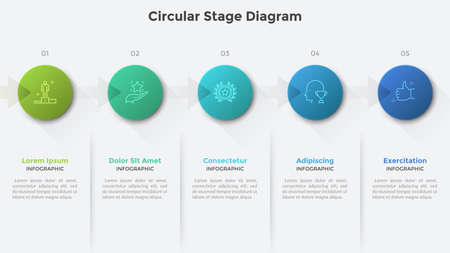 Circular stage diagram with five round elements connected by arrows. Creative infographic design template. Concept of 5 steps of business project development. Vector illustration for progress bar.